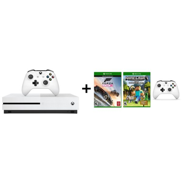 Microsoft ZQ900015 Xbox One S Console 500GB With Forza Horzon 3 Game + Minecraft Favorites Pack Game + Extra Wireless Controller
