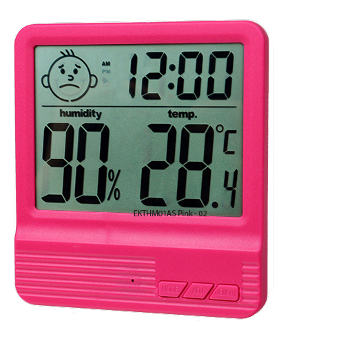 Eklasse Digital Clock, Temperature & Humidity Meter With Calendar Red EKTHM01AS