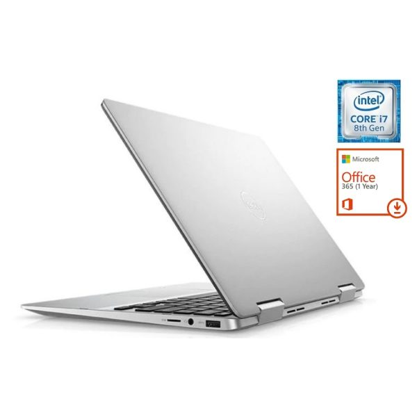 Dell Inspiron 13 7386 Convertible Touch Laptop - Core i7 1.8GHz 16GB 512GB Shared Win10 13.3inch FHD Silver + Pre-loaded MS Office