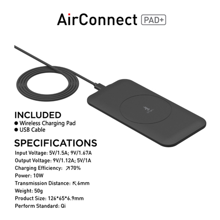 Smart Air Connect Wireless Charging Pad 10W - Black