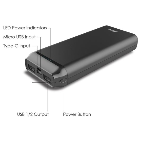 Eklasse EKPB20005FD 2A I/O Power Bank 20000mAh Black