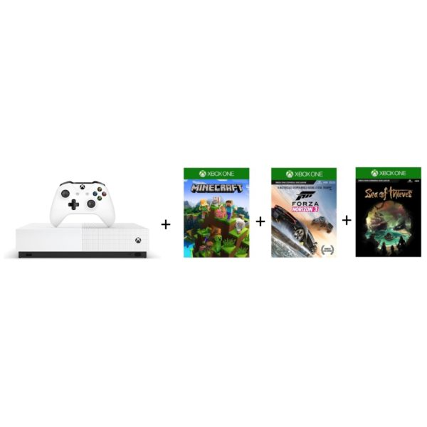 Microsoft Xbox One S All Digital Edition Gaming Console 1TB White + Minecraft + Sea of Thieves + Forza Horizon3 Games DLC
