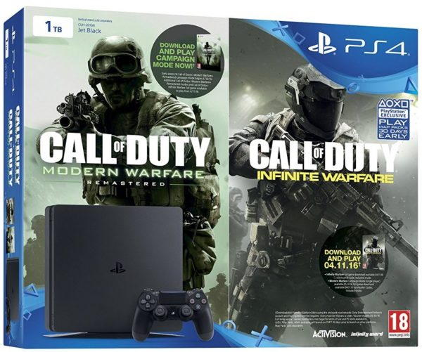 Sony PS4 Slim Gaming Console 1TB Black + Call of Duty Infinite Warfare + Modern Warfare DLC
