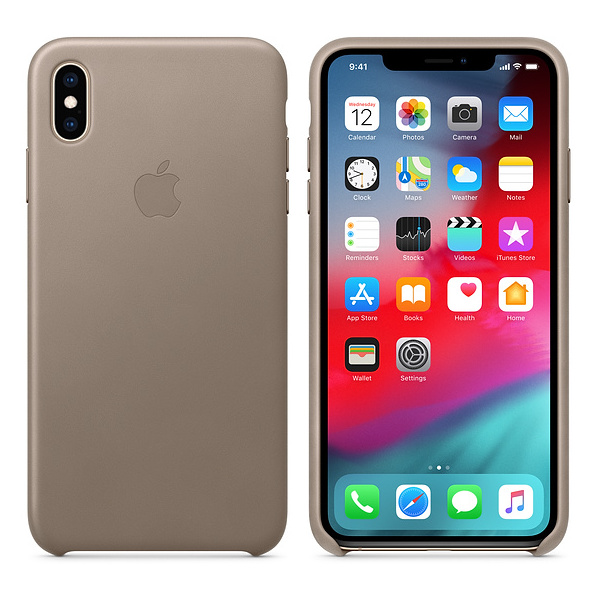 Apple Leather Case Taupe For iPhone XS