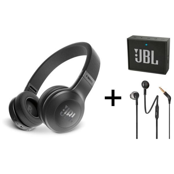 d2cc6e058b3 JBL E45BT Over Ear Headphone + GO Portable Bluetooth Speaker + JBL T205  Wired Earbud Headphone