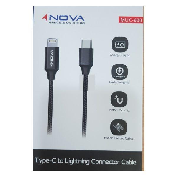 Nova Type C To Lightning Cable 1 2m – Black