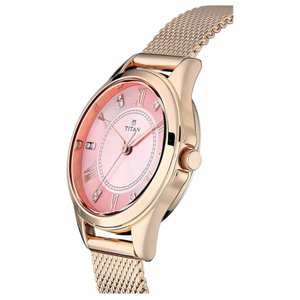 Titan Sparkle Pink Dial Analog Watch For Ladies