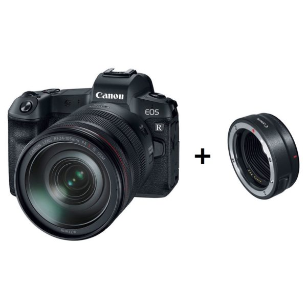 Canon EOS R Mirrorless Digital Camera Black With RF 24-105mm f/4L IS USM Lens