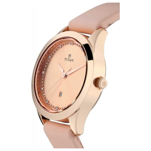 Titan Pink Dial Pink Leather Strap Watch For Ladies