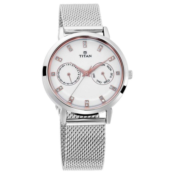 Titan Sparkle White Dial Analog Multi Function Watch For Ladies