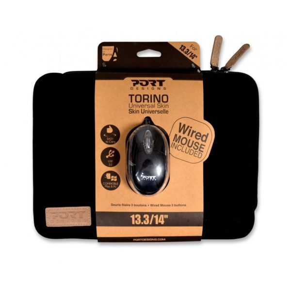 Port 501777 Torino Laptop Sleeve 13.3/14inch With Wired Mouse Black
