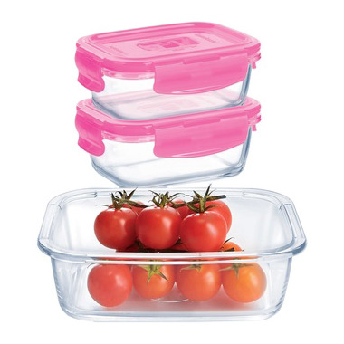 Luminarc P4498 Rectangle Pure Box 3 Pcs Set With Lunch Bag