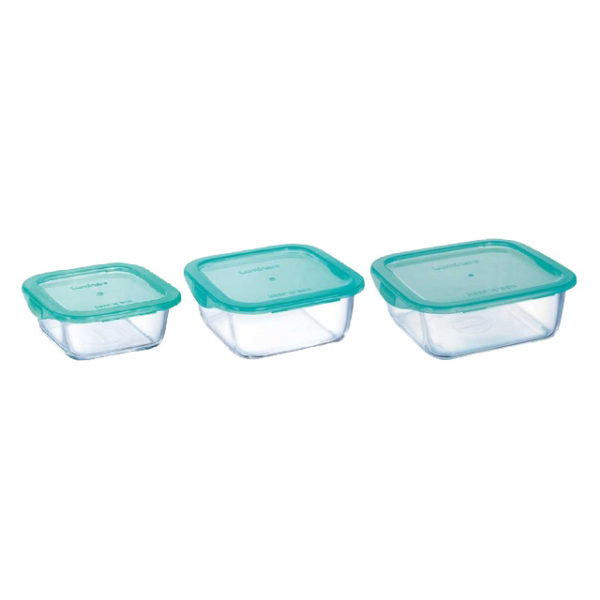 Luminarc P5274 Keep N Box Square Flat 3 Pcs Set