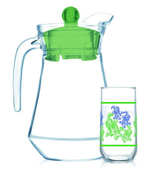 Luminarc Drink Set Bahamas 7Pcs + Jug Blue Flora