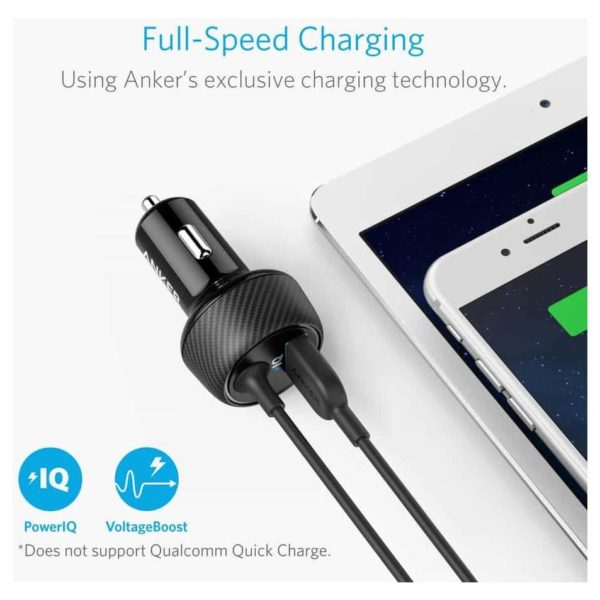 Anker PowerDrive 2 Elite Car Charger With Lightning Connector - Black