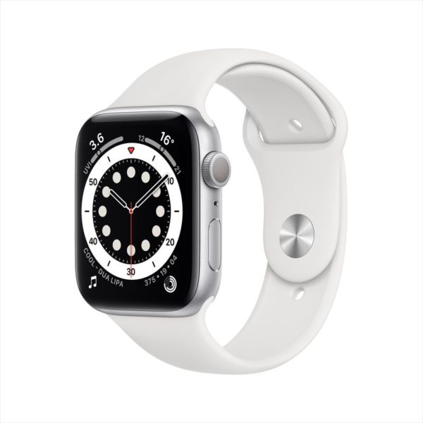 Apple Watch Series 6 GPS 44mm Silver Aluminum Case with White Sport Band