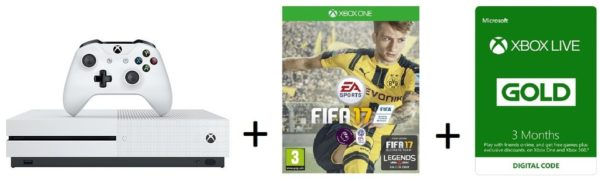Microsoft Xbox One S 1TB Gaming Console White + Fifa17 Game + 3 Months Live Gold Membership
