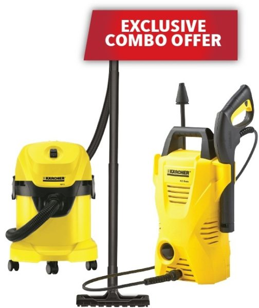 Karcher WD3 Wet & Dry Vacuum Cleaner + K2COMPACTCAR Pressure Washer