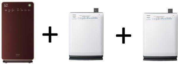 Hitachi EPL110E Air Purifier + EPA5000 Air Purifier + EPA5000 Air Purifier