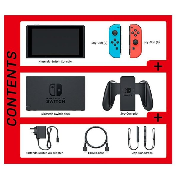 Nintendo Switch Console 32GB With Neon Joy Con + Orb 021003 Essential Travel Pack + Super Bomberman Game + 1 Assorted Amiibo Character