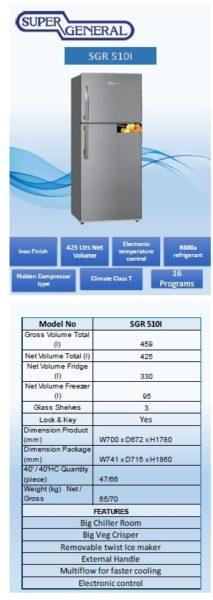 Super General Top Mount Refrigerator SGR510I