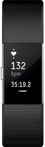 Fitbit Charge 2 Wristband Laryon Black Silver Large - FB407SBKLEU