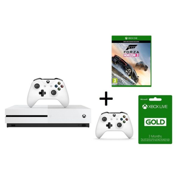 Microsoft Xbox One S Console 500GB White With Forza Horzon 3 Game CD + Extra Wireless Controller + 3 Months Live Gold Membership