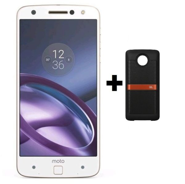 moto z phone white. Moto Z 4G Smartphone 32GB White Gold + Mods JBL Speaker Phone R
