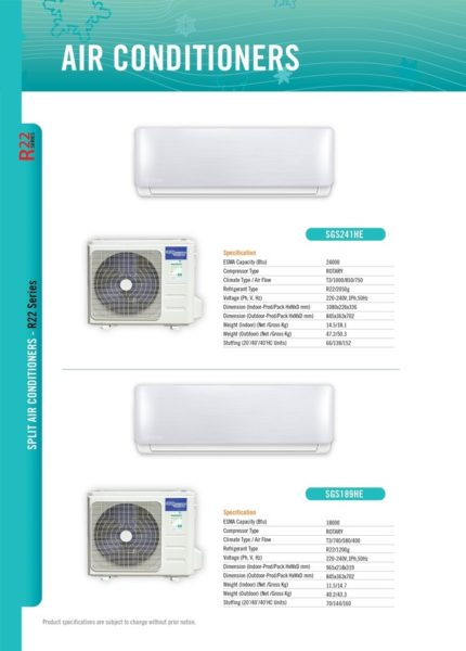 Super General Split Air Conditioner SGS189HE with Free Standard Installation Upto 5m