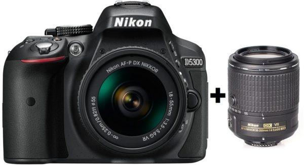 Nikon D5300 DSLR Camera + AF-P 18-55 VR + 55-200 VR II Lens