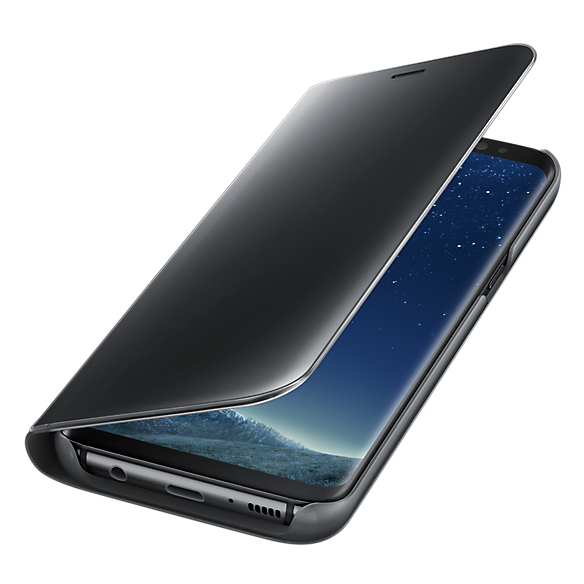 Samsung EF-ZG955CBEGWW Clear View Standing Cover For Galaxy S8 Plus Black+EP-PG950TBEGAE Wireless Charger Stand With Travel Adapter Black For Galaxy S8/S8 Plus