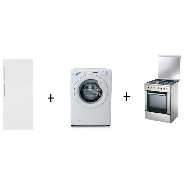 Candy CCDN490WH Top Mount Refrigerator + GC1082D11S Front Load Washer + CCG6503PX Cooker
