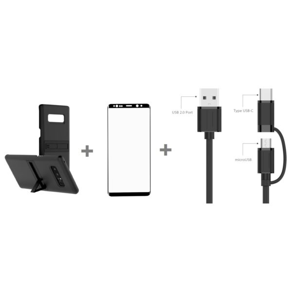 Anymode FA002792K Kick Tok Case With Built In Stand Matte Black+FA002787KAO Tempered Glass Screen Protector For Samsung Galaxy Note 8+FE00002OBK 2in1 Cable Micro USB Cable 1m With Type C Adaptor Black