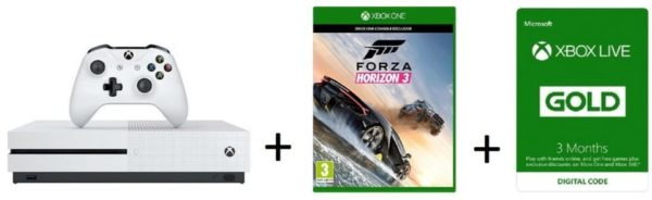 Microsoft 23400118 Xbox One S Console 1TB W/ Forza Horzon 3 Game+52K00264 3 Months Live Gold Membership