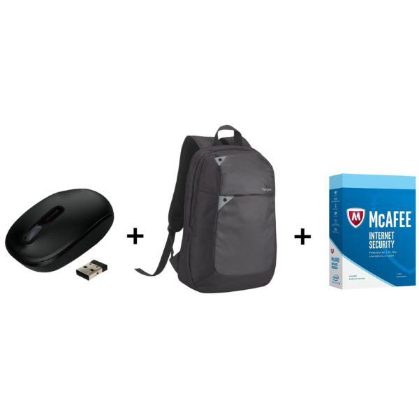 Microsoft U7Z00004 1850 Wireless Mobile Mouse + Targus TBB565 Laptop Backpack 15.6inch + Mcafee Internet Security