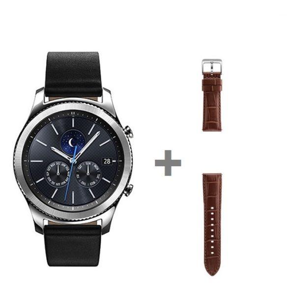 Samsung SM-R770 Gear S3 Universal Smartwatch Silver + ETYSA76MDEGAE Alligator Grain Leather Band Brown For Gear S3