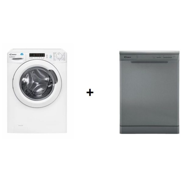 Candy CS1282D2119 Front Load Washer + CDP1LS39X19 Dishwasher