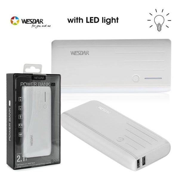 Wesdar Power Bank 8000mAh White - S6