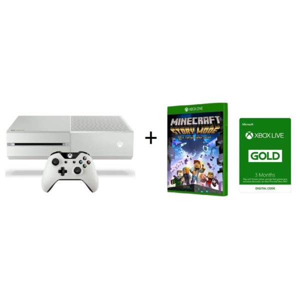 Microsoft Xbox One S Console 500GB White ZQ900015 + Minecraft Story Mode DLC Game With 3 Months Live Gold Membership