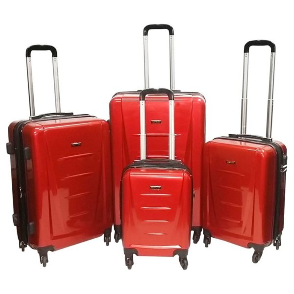 Highflyer Inspire Trolley Luggage Bag Red 4pc Set TH1614PPC4PC
