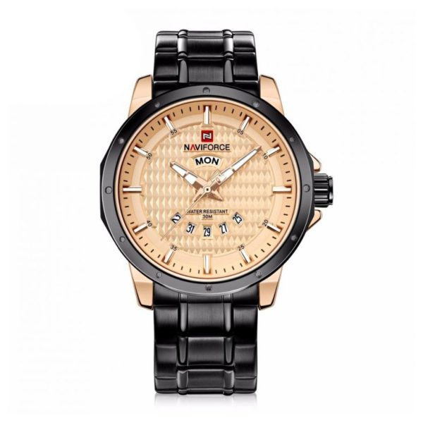 Naviforce Mens Watch Black Gold 9115