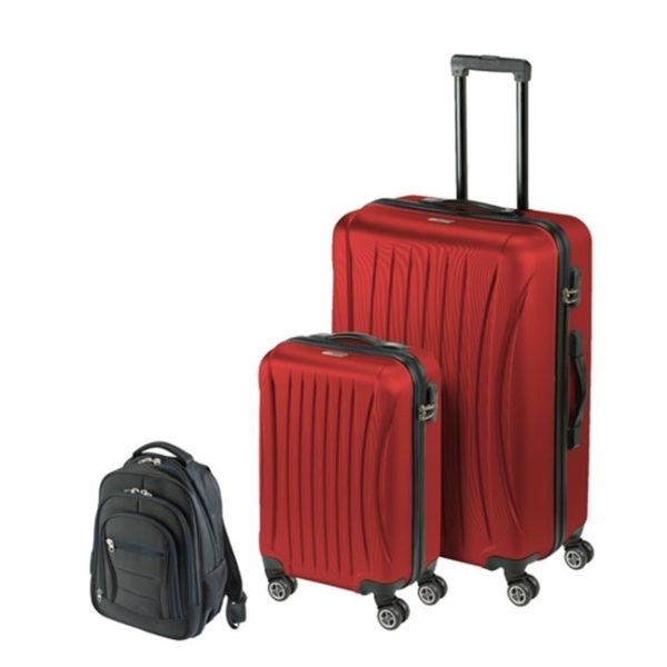 Princess Travellers LAVEGAS Luggage Trolley Bag With Built in Scale Red Set Of 3