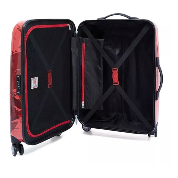 Eminent Map Spinner Trolley Luggage Bag RED 24inch - KF3224RED