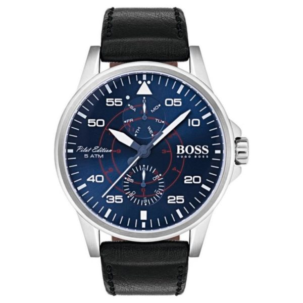 Hugo Boss Aviator Watch For Men with Black Leather Strap