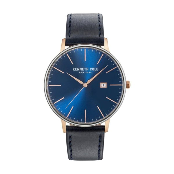 Kenneth Cole Classic Watch For Men with Blue Dark Genuine Leather Strap