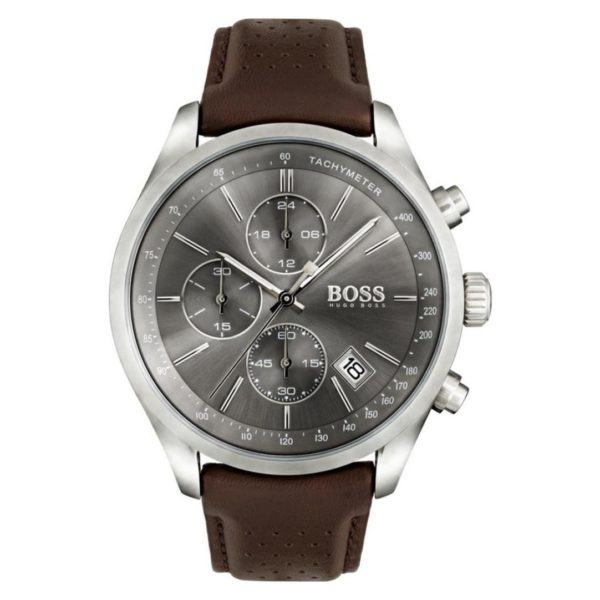 Hugo Boss Grand Watch For Men with Brown Metal Strap