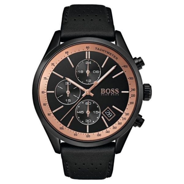 Hugo Boss Grand Watch For Men with Black Leather Strap