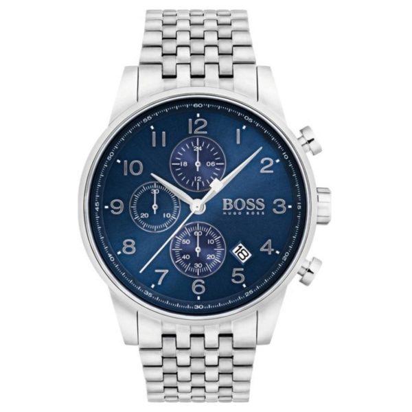Hugo Boss Navigator Watch For Men with Silver Metal Bracelet
