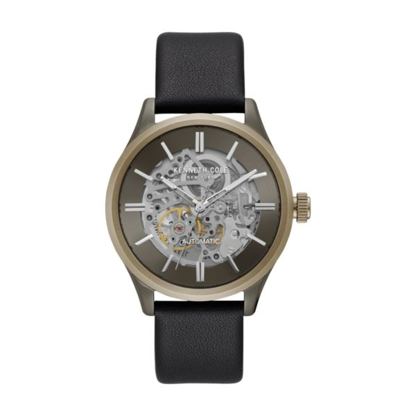 Kenneth Cole Automatic Watch For Men with Black Genuine Leather Strap