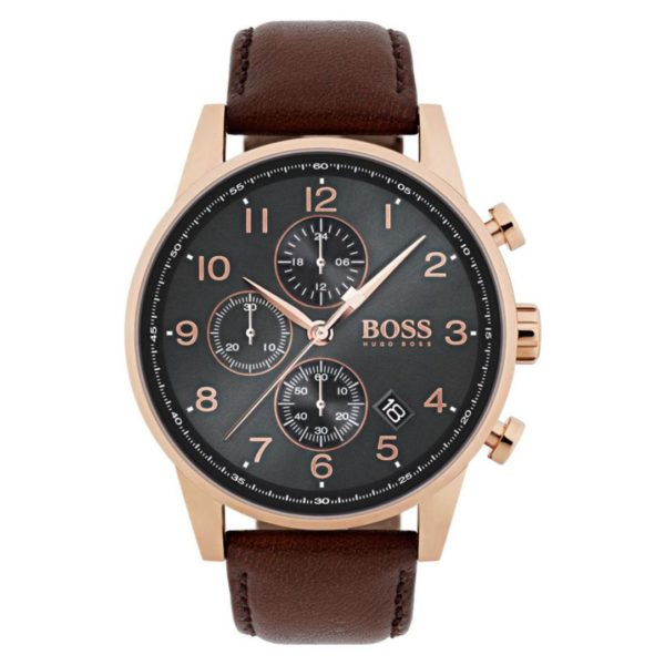 Hugo Boss Navigator Watch For Men with Brown Leather Strap